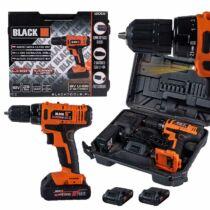 Black Tools akkus fúrógép 18V, kofferben, 2 akkumulátorral
