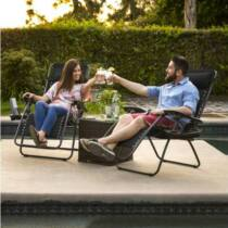 Zéró gravitáció kerti szék ajándék pohártartóval, 2 db