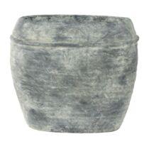Szürke ovális kaspó, 32 x 17 x 28 cm