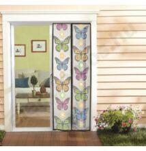 Szúnyogháló ajtóra 100 x 200 cm, 2-részes mágneses záródással, fehér alapon pillangókkal