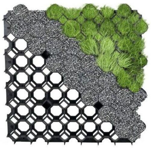 Műanyag, fekete gyeprács, 49,2 cm x 49,2 cm
