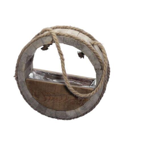 Kerek fa akasztós kaspó, 32,5 x 12 cm