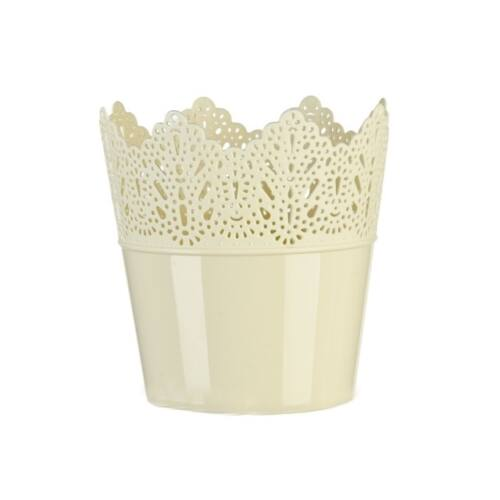 Krém színű műanyag korona kaspó, 16,5 x 18,5 cm