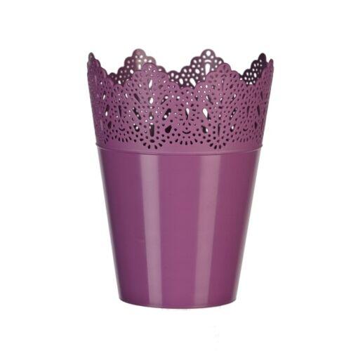 Lila, műanyag korona alakú kaspó, 14,5 x 19 cm
