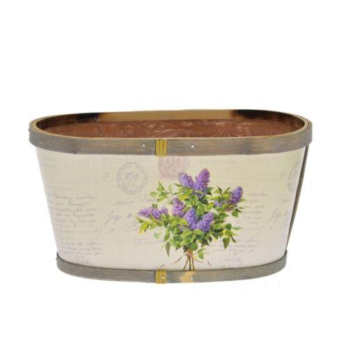Virágmintás ovális kaspó, 22 x 12 x 11,5 cm