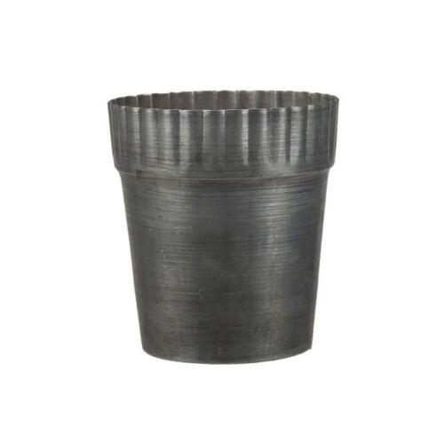 Kerek, szürke fém kaspó, 12 x 13,5 cm