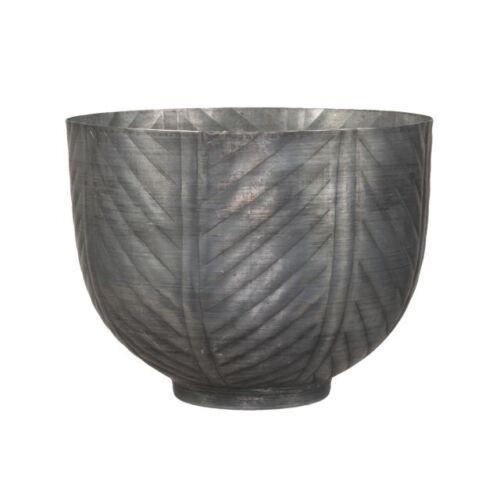 Szürke, mintás fém kaspó, 20,5 x 15,5 cm