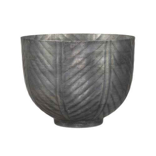Szürke, mintás fém kaspó, 16 x 12,5 cm